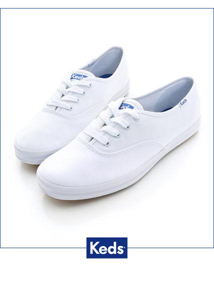 Keds 經典長青帆布鞋(寬楦)-白 白鞋││綁帶│平底鞋