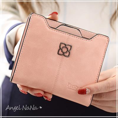 AngelNaNa 歐美風皮夾。 簡約風 油蠟皮 女短夾 零錢包【M178】