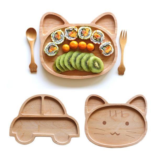 三木櫸木木製餐盤盤子玩具車卡通011781海渡
