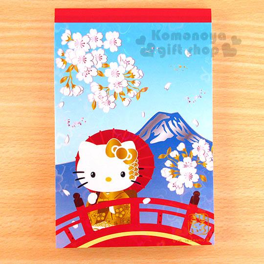 〔小禮堂〕Hello Kitty 日製便條本《藍.金和服.富士山.雷射愛心》葉朗彩彩