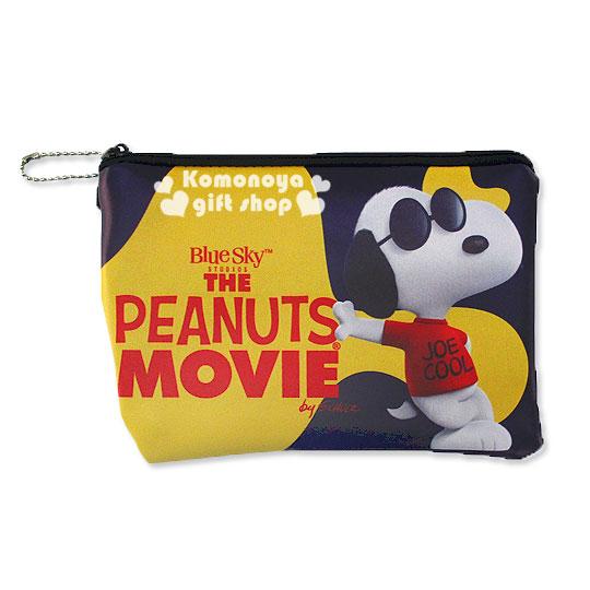 〔小禮堂〕史努比 皮質拉鍊扁平化妝包《黃.深藍.紅衣服.側站.墨鏡》Peanuts電影系列