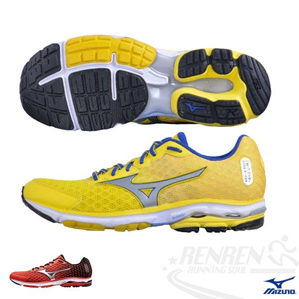 MIZUNO 美津濃 WAVE RIDER 18 男 路跑 慢跑鞋(黃*銀) 亞洲獨賣 2015年暢銷鞋款