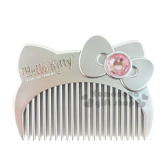 〔小禮堂〕Hello Kitty 造型平扁梳子《銀.大臉.盒裝》