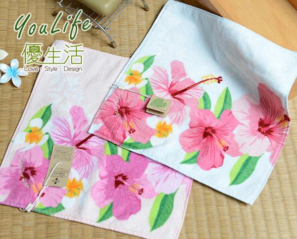 【UCHINO】夏威夷系列 扶桑花方巾 100%純棉毛巾 輕薄柔軟速乾 日本品牌 品質安心