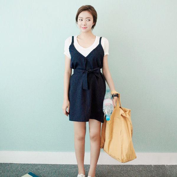 PS Mall 韓版條紋V領吊帶連身裙 背心裙 連身洋裝【T910】