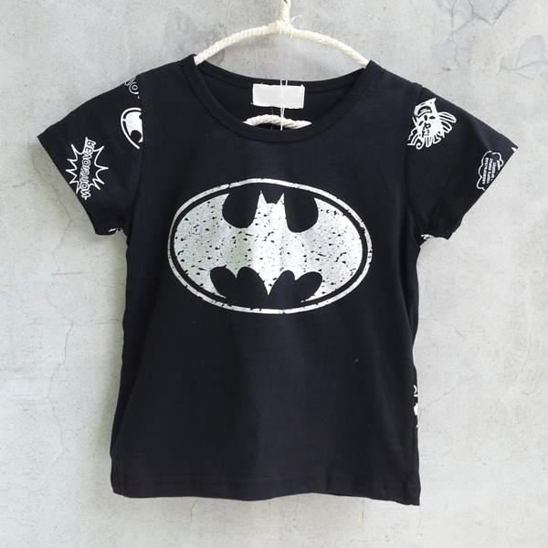【班比納精品童裝】斑駁蝙蝠後圖騰棉T-黑【BO150709026】