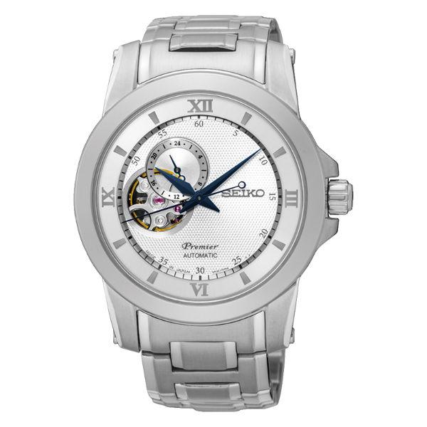 Seiko精工 Premier 4R39-00P0S(SSA319J1)藝術羅馬鏤空機械腕錶/白面41.5mm