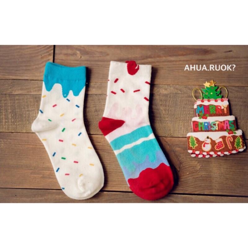 【開幕促銷】Caramella 冰淇淋蛋糕雙襪組 中筒襪 短襪 船襪 隱形襪 五指襪 文青情侶 運動穿搭 阿華有事嗎 C0019