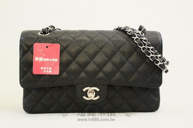 A6666 chanel 黑色 荔枝皮 25cm 銀鍊 coco包
