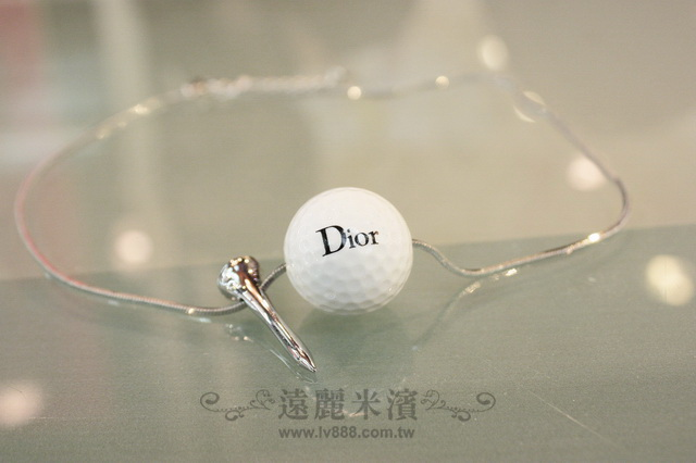 A6677 Dior 白 高爾夫球 含 地針 銀色 項鍊 (大)
