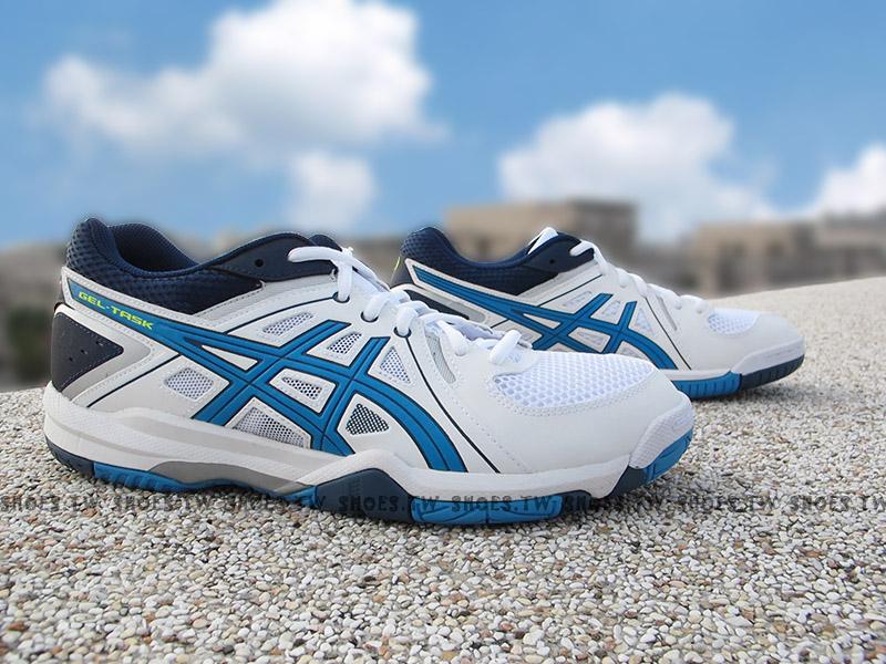 Shoestw【B505Y-0143】ASICS GEL-TASK 排羽球鞋 膠底 白藍 男生尺寸
