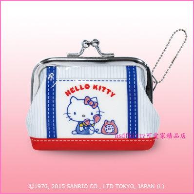 asdfkitty可愛家☆KITTY打電話雙珠扣零錢包-防水材質-可當印章袋-日本正版商品