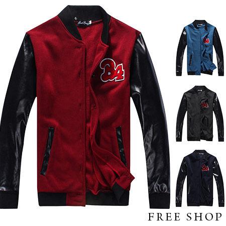 Free Shop【QJFK3413】美式休閒潮流刺繡B4圖騰皮革拼接保暖運動外套棒球外套.四色