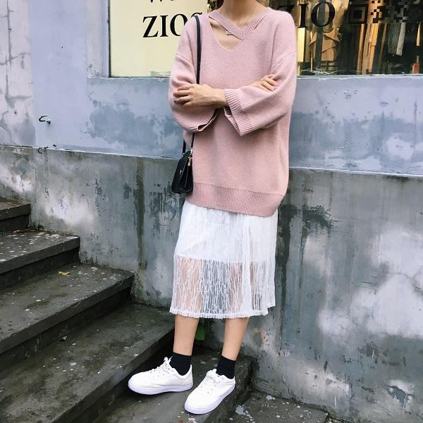 PS Mall 寬鬆名媛露鎖骨兔毛毛衣連身裙 洋裝 分開售【T4298】