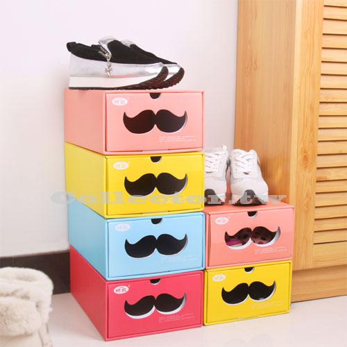 【G15031701】糖果色紙作環保鞋子收納盒 DIY鞋盒 多功能收納盒 翹鬍子收納箱