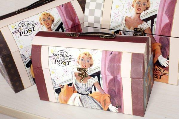 復古女神 手提化妝盒(箱) /禮物盒 /包裝禮盒 /生日禮盒 /紙盒 ☆真愛香水★