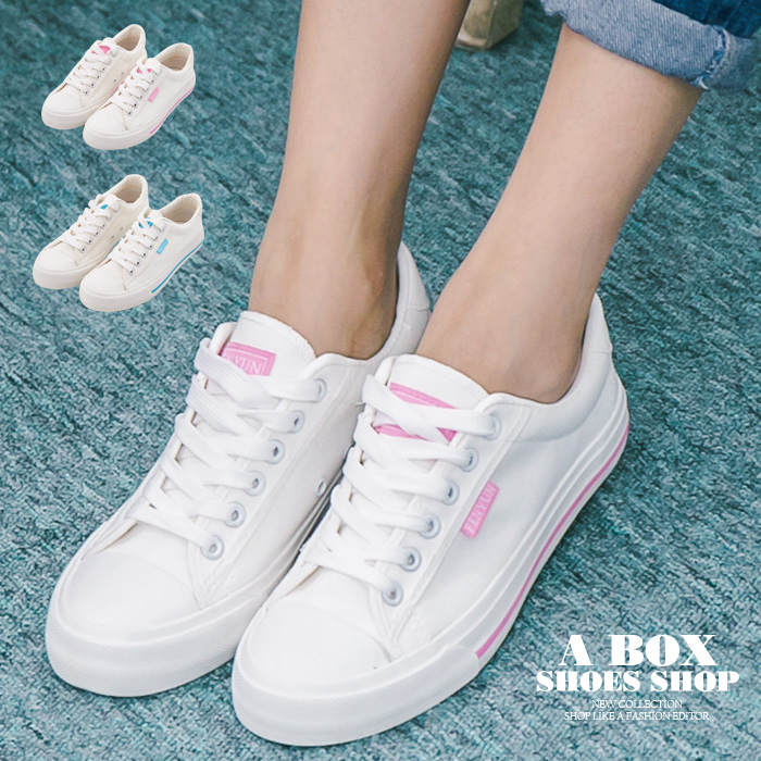 格子舖*【AAY11】基本款百搭時尚簡約 綁帶布面鞋帆布鞋 2色