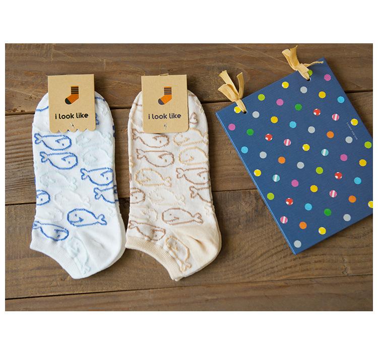 【i look like】2016春夏新款鯨魚彎板全棉襪 卡通系列女性純棉船襪