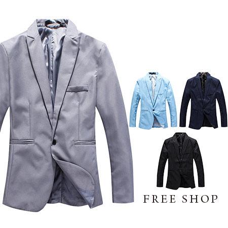 Free Shop【QMDX07】日韓系英倫紳士雅痞風格雜誌款素面單釦SILM修身西裝外套‧四色