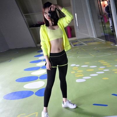 緊身褲運動褲-時尚假兩件九分瑜珈慢跑女健身用品4色73es20【獨家進口】【米蘭精品】