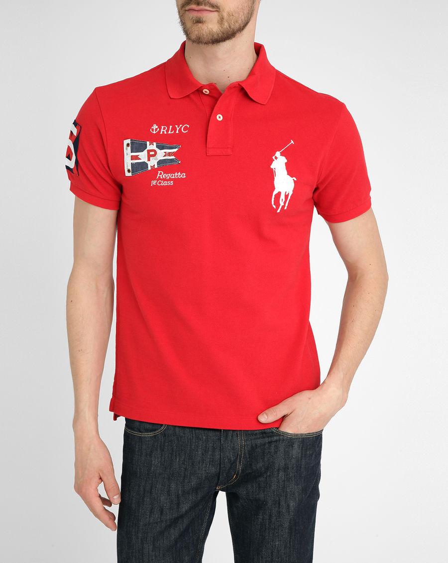 美國百分百【Ralph Lauren】Polo衫 RL 短袖 Polo 大馬 紅色 旗幟 國旗 男 XS XXS號 F236