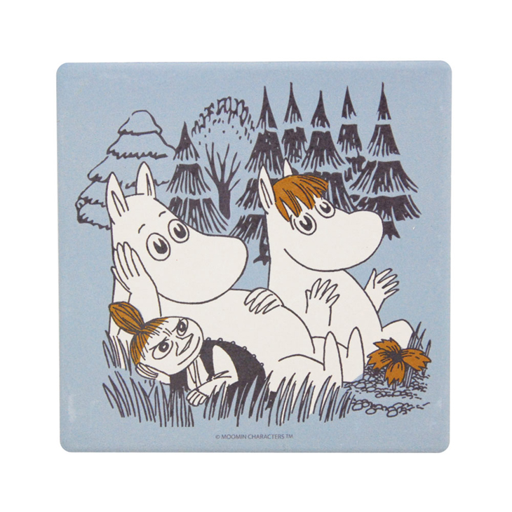 Moomin嚕嚕米正版授權 - 吸水杯墊:【 仲夏之夜(藍) 】 ( 圓 / 方 )