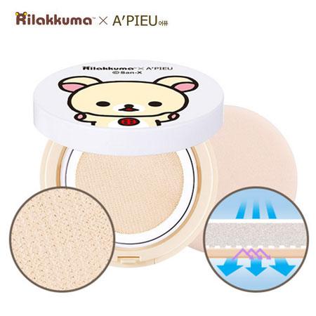 韓國 A'PIEU x 拉拉熊聯名款 懶熊妹網狀氣墊粉餅 氣墊粉餅 牛奶熊 Rilakkuma A pieu Apieu【B062192】