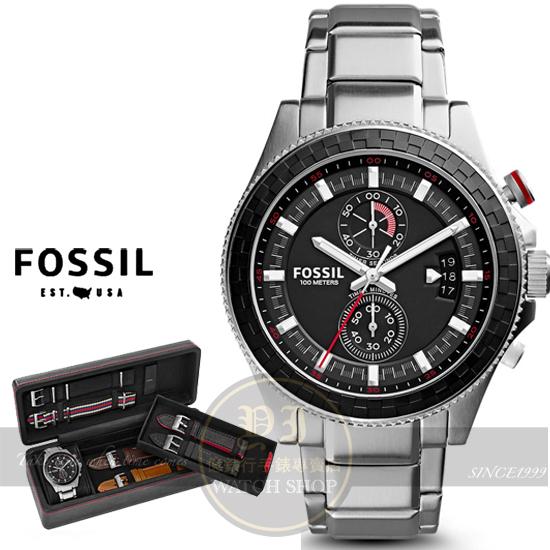 FOSSIL美國品牌Wakefield韋克菲爾德三眼計時套錶組/45mm CH3000SET公司貨/情人節/禮物/收藏