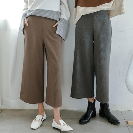 PS Mall 秋冬新款羊絨坑條針織加厚闊腿九分褲長褲【T3205】