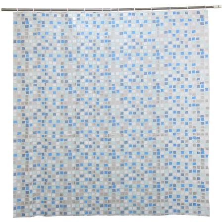 浴簾 PEVA 藍色馬賽克 180x180cm