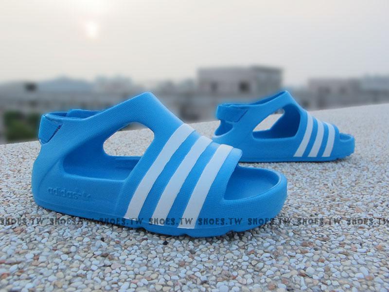 Shoestw【B24595】ADIDAS 童鞋 涼鞋 小童 Adilette Play I 藍白條 後跟彈性繩
