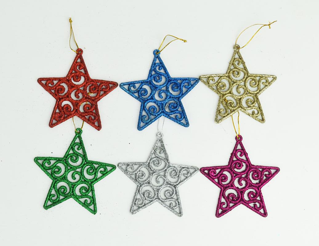 X射線【X298844】9.5CM金粉五星吊飾(6入),聖誕節/聖誕樹/聖誕佈置/聖誕掛飾/裝飾/掛飾/會場佈置/DIY/材料包