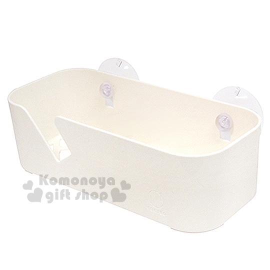〔小禮堂〕KOKUBO 日製廚房吸盤收納盒《白.長方形》附吸盤