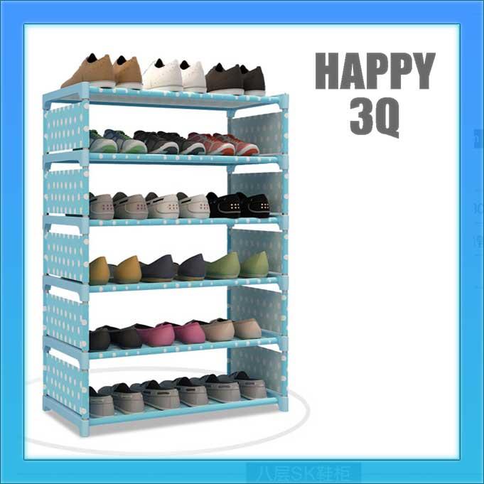 現代簡約圓點點DIY組裝優質防水小物收納架鞋架書櫃六層-銀灰/藍點/粉點/黑白【AAA0718】
