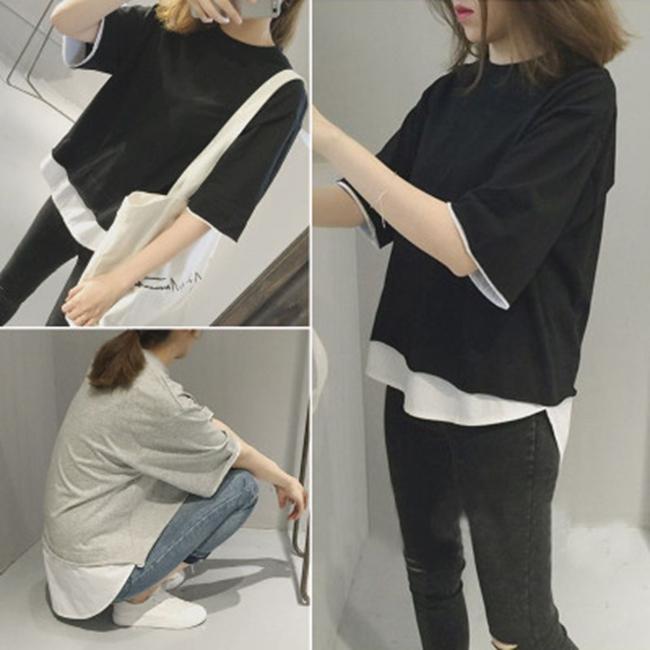 50%OFF【G019743C】2016韓國新款假兩件套寬鬆顯瘦簡約前短後長短袖tee恤上衣
