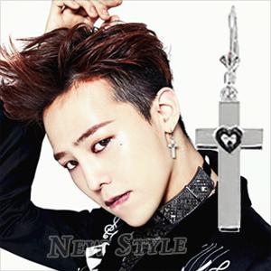 ☆ New Style ☆ BIGBANG 權志龍 GD G-Dragon 同款鈦鋼十字愛心吊掛耳環 (單支價)