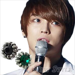 ☆ New Style ☆ 韓國進口 都會魅力 JYJ 金在中 西德鋼 同款葵花彩鑽耳釘耳環 (單支價)