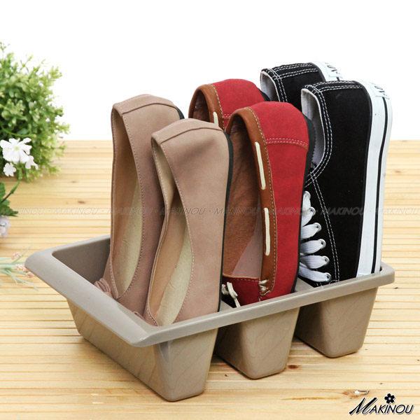 日本MAKINOU 鞋架|立式三格軟鞋收納盒|分隔收納 置物盒 鞋插 節省鞋櫃空間