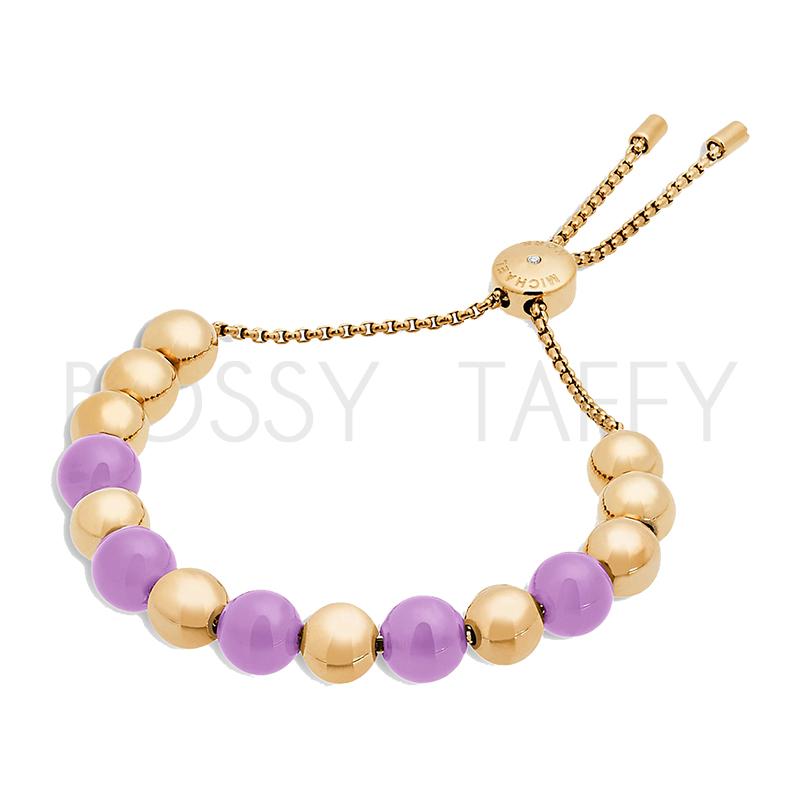 MICHAEL KORS 紫水晶時尚金串珠可調式手鍊 MK Amethyst Beaded Bracelet