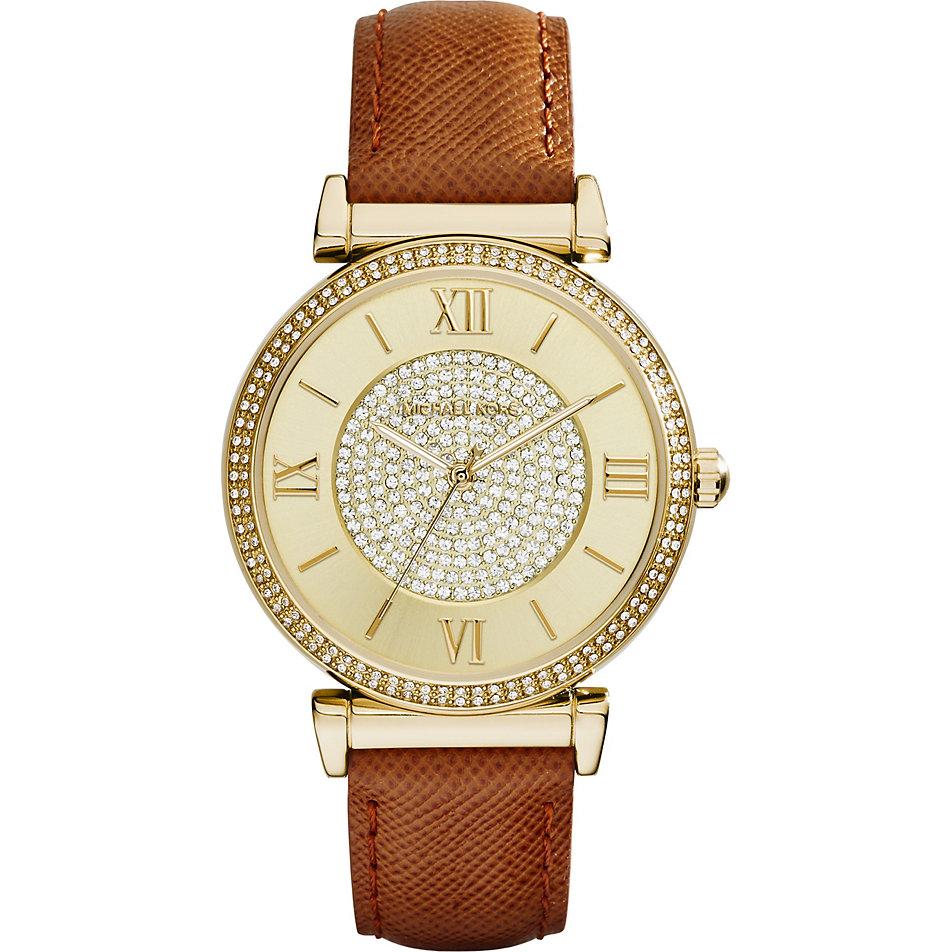 美國Outlet 正品代購 MichaelKors MK 金色鑲鑽 棕色皮帶三環計時手錶腕錶 MK2375