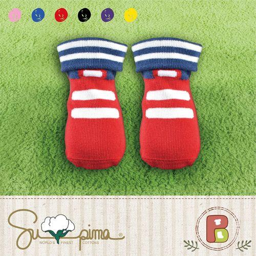 ★衛立兒生活館★貝柔 Peilou 貝寶Supima美國棉萊卡止滑寶寶襪-湯姆鞋1雙(隨機出貨)P6808