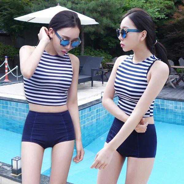 PS Mall 復古條紋高腰兩件式比基尼泳裝【ET532】泳衣 溫泉 沙灘 BIKINI