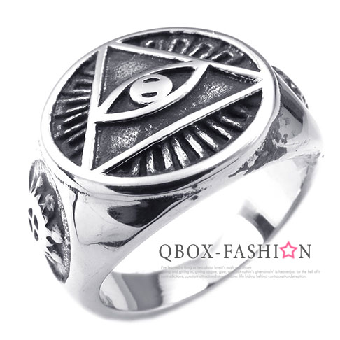 《 QBOX 》FASHION 飾品【W10025241】精緻個性美元眼睛共濟會鑄造316L鈦鋼戒指/戒環
