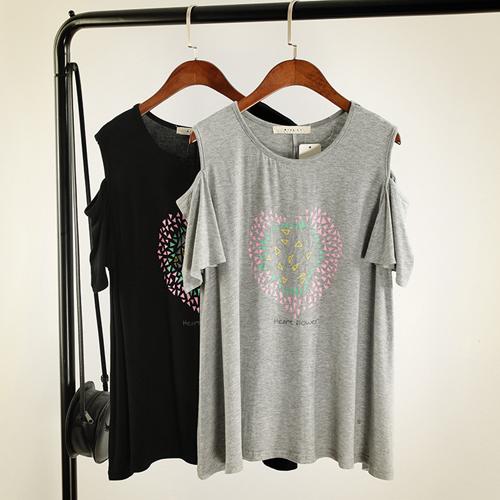 YJY韓國同步百搭露肩莫代爾棉T恤[ML0024]-2色