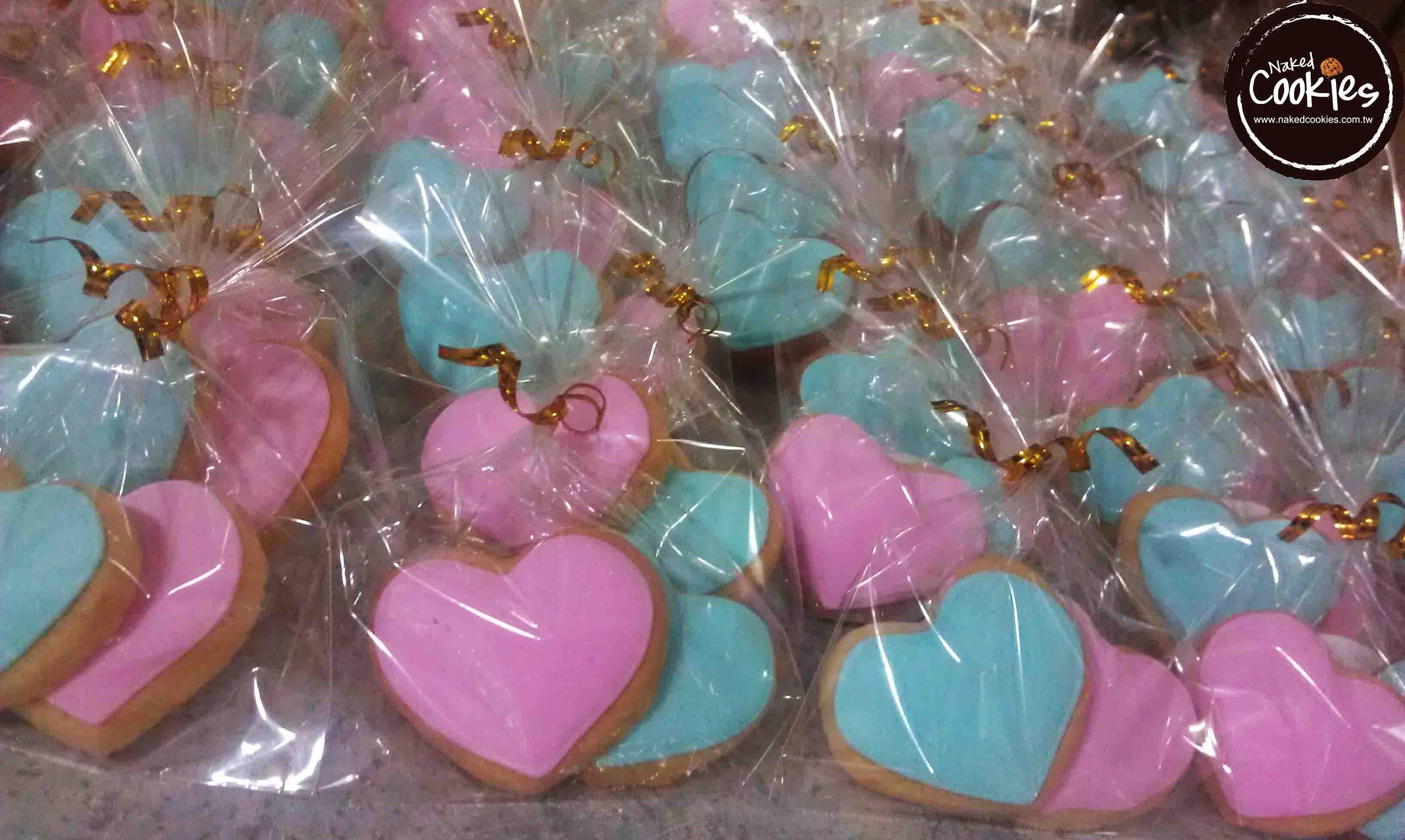 【Naked Cookies】婚禮雙心6組(1組2顆心)-創意手工糖霜餅乾,婚禮小物/生日/活動/收涎/彌月