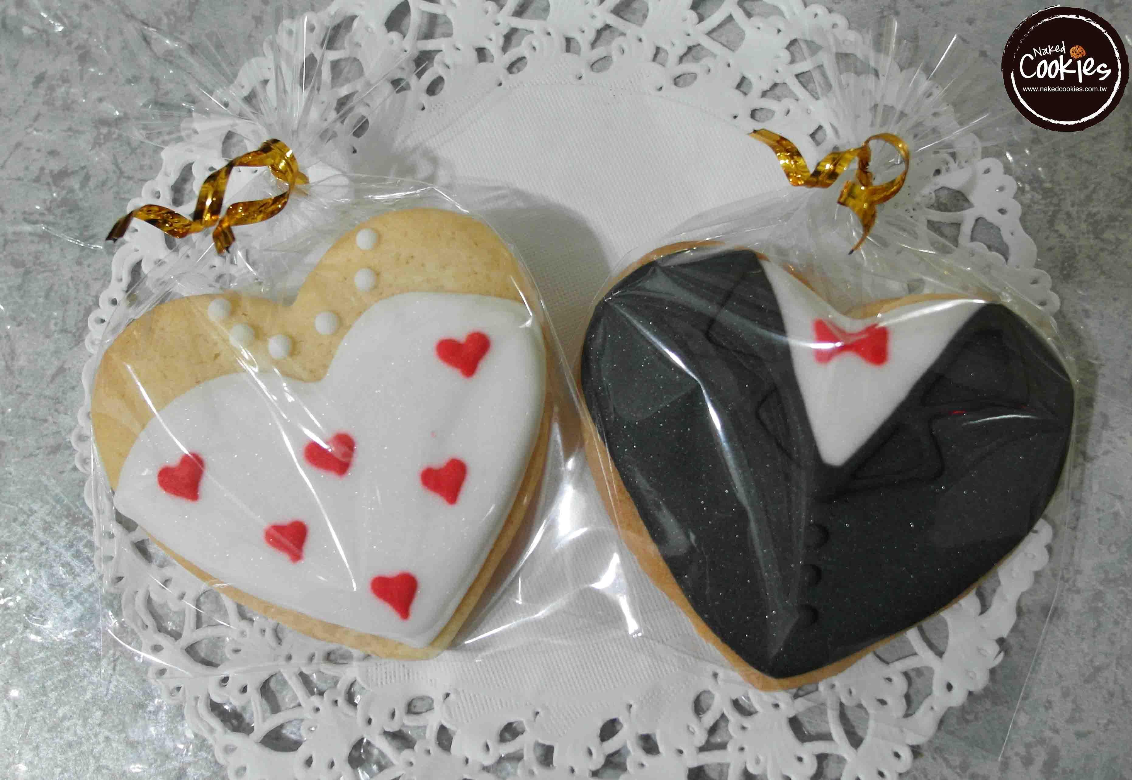 【Naked Cookies】婚禮婚紗西裝款6入-創意手工糖霜餅乾,婚禮/生日/活動/收涎/彌月