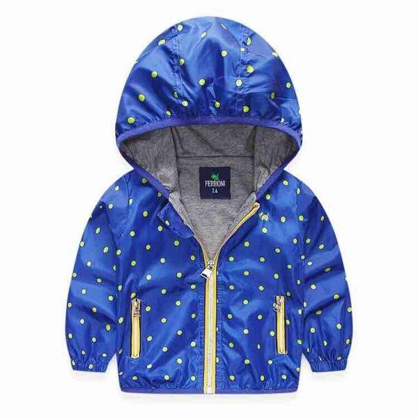 EMMA商城~兒童藍色點點連帽輕量風衣薄外套