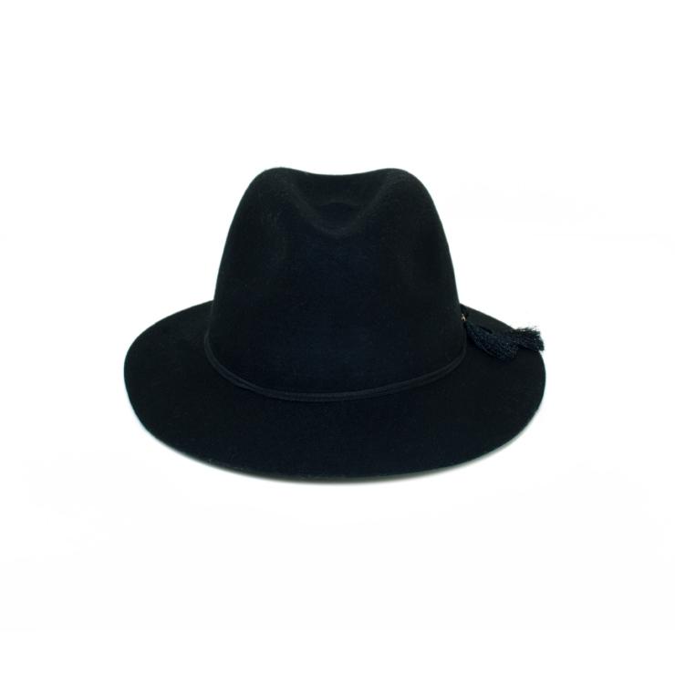 MONEY HAT 2016秋冬款 皮繩流蘇羊毛紳士帽 黑色