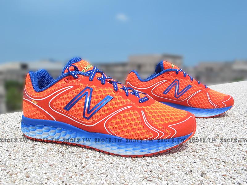 《超值4.9折》Shoestw【M980OR】NEW BALANCE 慢跑鞋 橘紅藍 蜂巢 2E楦頭 男生