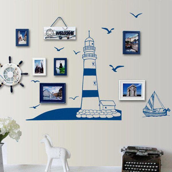 BO雜貨【YV0686】DIY時尚裝飾組合可移動壁貼 牆貼 壁貼 創意壁貼 藍色帆船AY008